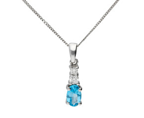 9ct White gold 0.40ct Topaz & 0.09ct Diamond Pendant