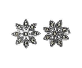Sterling Silver & Marcasite Daisy Stud Earrings