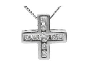 18ct White Gold 0.20ct Diamond Cross Pendant