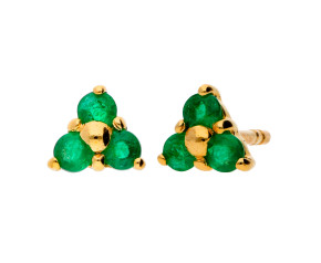 9ct Yellow Gold 0.25ct Emerald Trefoil Cluster Earrings