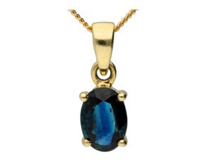 9ct Yellow Gold 1ct Sapphire Solitaire Pendant