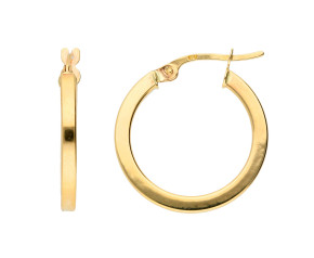 9ct Gold Square Edged Hoop Earrings