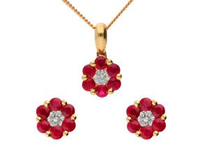 18ct Yellow Gold 0.75ct Ruby & 0.20ct Diamond Floral Earrings & Pendant Jewellery Set