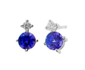 9ct White Gold 0.60ct Tanzanite & 0.15ct Diamond Stud Earrings