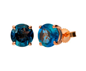 9ct Rose Gold 3.50ct London Blue Topaz Solitare Stud Earrings
