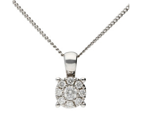 18ct White Gold 0.13ct Diamond Cluster Pendant