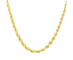 9ct Yellow Gold Graduated Rope Chain Necklace