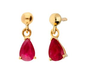 01e9f724c 9ct Gold 1.00ct Ruby Drop Earrings