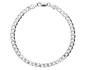 Pre-Owned 9ct White Gold Metric Curb Bracelet