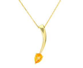 Sterling Silver & Yellow Gold Vermeil Citrine Shooting Star Pendant