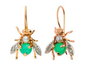 Handcrafted Italian 1.60ct Emerald, Pearl & 0.10ct Diamond Bee Drop Earrings