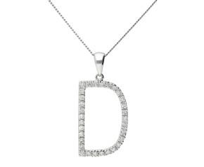 9ct White Gold Diamond Letter 'D' Pendant