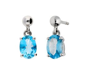 9ct White Gold 1.50ct Aquamarine Drop Earrings