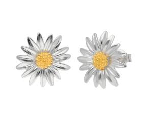 Silver & Yellow Gold Daisy Flower Stud Earrings