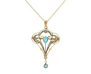 Antique Edwardian 9ct Yellow Gold Gem-set & Pearl Pendant