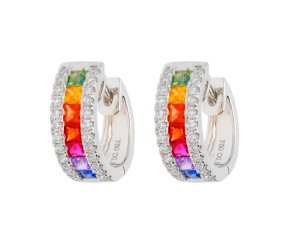18ct White Gold 0.90ct Rainbow Sapphire & 0.30ct Diamond Hinged Hoop Earrings