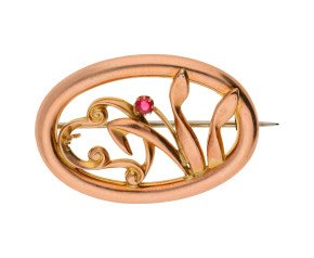 9ct Rose Gold Edwardian Tulip & Heart Brooch
