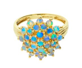 Pre-owned 9ct Yellow Gold Opal Floral Cluster Ring