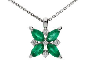 9ct White Gold 0.55ct Emerald & 0.10ct Diamond Flower Pendant