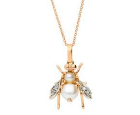Handcrafted Italian 9ct Rose Gold Pearl & Diamond Bee Pendant