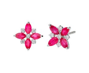 9ct White Gold 0.80ct Ruby & 0.10ct Diamond Flower Stud Earrings