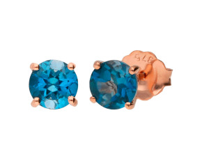 9ct Rose Gold 5mm London Blue Topaz Solitaire Round Shape Stud Earrings