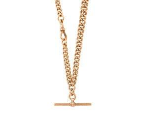 Antique Edwardian 9ct Rose Gold Albert Watch Chain
