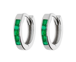 9ct White Gold 0.35ct Emerald Hinged Hoop Earrings
