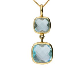 9ct Yellow Gold Topaz Double Drop Pendant