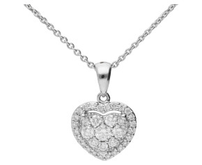 18ct White Gold 0.40ct Diamond Heart Pendant