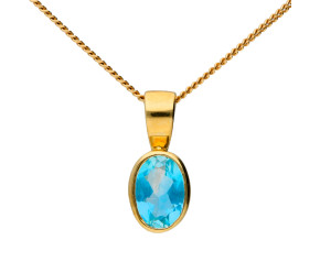 9ct Yellow Gold 0.50ct Oval Aquamarine Pendant