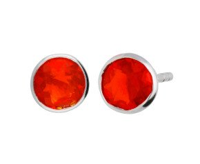 9ct White Gold 0.90ct Fire Opal Solitare Stud Earrings