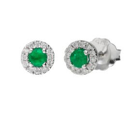 9ct White Gold Emerald & Diamond Halo Cluster Stud Earrings