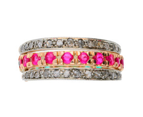 Handcrafted Italian Ruby Sapphire & Diamond Hinged Eternity Ring