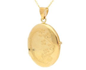 9ct Yellow Gold Oval Forget Me Not Locket