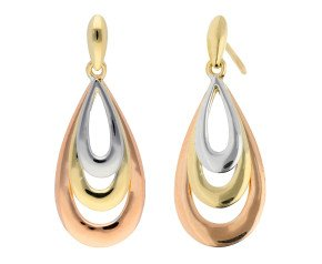 9ct Yellow White & Rose Gold Tear Drop Earrings