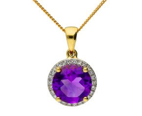 9ct Yellow Gold 2.40ct Amethyst & 0.20ct Diamond Cluster Pendant