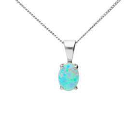 9ct White Gold 0.75ct Opal Solitaire Pendant