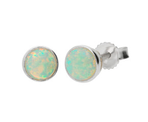 9ct White Gold 0.67ct Opal Solitaire Stud Earrings