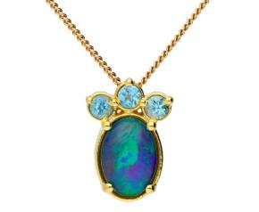 9ct Yellow Gold Opal Fancy Pendant