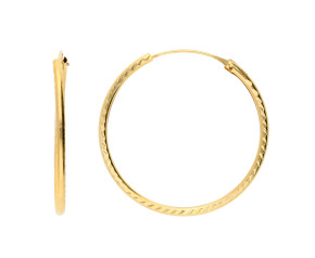 9ct Yellow Gold 25mm Sleeper Hoop Earrings