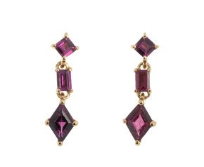 9ct Yellow Gold Garnet Fancy Drop Earrings