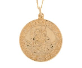 9ct Yellow Gold Large St Christopher Pendant