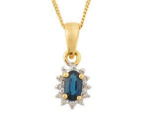 9ct Yellow Gold 0.35ct Sapphire & Diamond Cluster Pendant