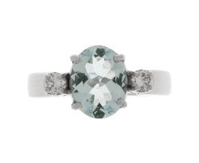 Pre-Owned 1.34ct Aquamarine & Diamond Ring