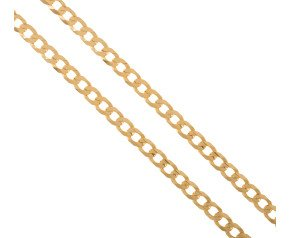 Men's 9ct Yellow Gold 5.20mm Filed Curb Chain