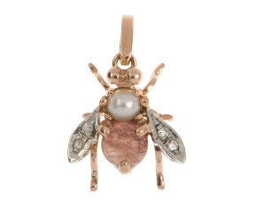 Handcrafted Italian Pearl & Pink Tourmaline Bee Pendant