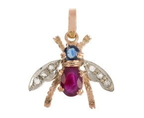 Handcrafted Italian 0.50ct Ruby, Sapphire & Diamond Bee Pendant