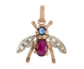 Handcrafted Italian 0.50ct Ruby, Sapphire & Diamond Bee Pendant