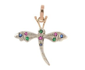 Handcrafted Italian Emerald Ruby & Sapphire Dragonfly Pendant